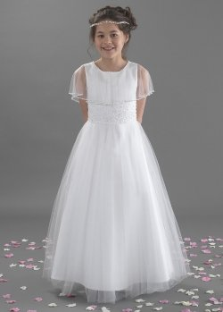 First Holy Communion Dress With Tulle Cape By Linzi Jay Style Sophia