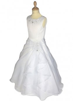 Organza Beaded First Holy Communion Dress With Drape Effect Skirt