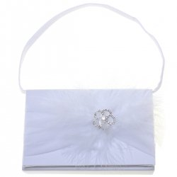 Rose Diamonds With Fur White Communion Handbag