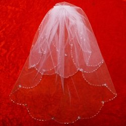 First Holy Communion Veil Decorated By Beads And Sequins