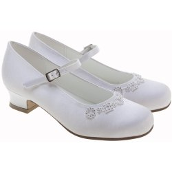 Girls White Communion Shoes Diamantes Shapes
