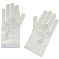 Fingerless Lace And Flowers First Communion Gloves With Beads