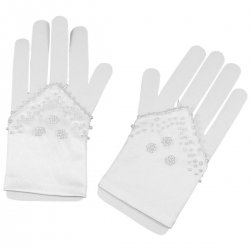 Fingerless First Communion Gloves With Beads