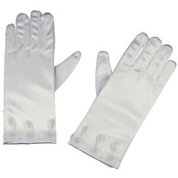 White First Communion Gloves With 3 Pearls And 3 Flowers