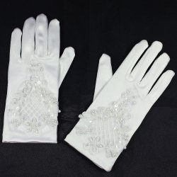 Elaborately Beaded First Holy Communion White Gloves