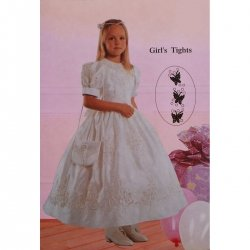 Girls special occasions white tights butterfly pattern 1 3 YRS