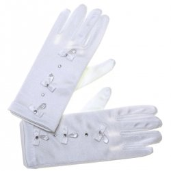 Bow Crystals White Communion Gloves