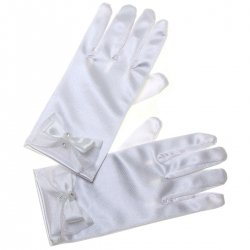 Diamante Bows White Communion Gloves