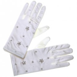 Flower Beads White Communion Gloves