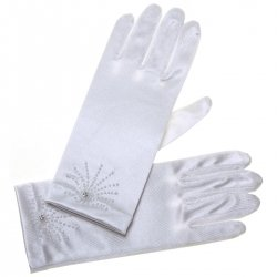 Rays of Beads White Communion Gloves
