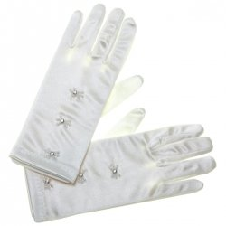 Three Diamantes White Communion Gloves
