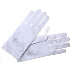 Two Flowers White Communion Gloves