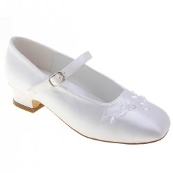 Girls First Holy Communion Shoes In White With Embroidered Floral Pattern