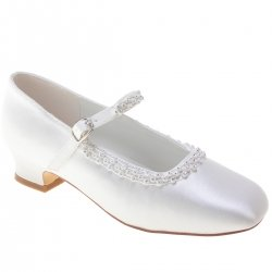 Girls Communion White Shoes With Diamantes