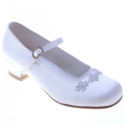 Girls Communion Shoes Three Groups Diamantes Petals