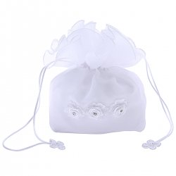 First Holy Communion Organza Dolly Bag With Three Flowers