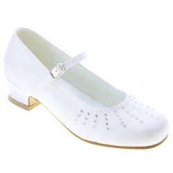 Rays Of Diamantes Girls First Holy Communion Shoes In White