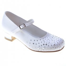 Scatter Diamantes Girls First Holy Communion White Shoes