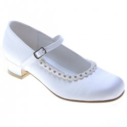 Diamantes on Rim Girls First Holy Communion White Satin Shoes