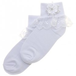Girls White Communion Socks With Bow Lace Flower Diamante Beads And Pearls