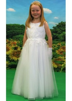 Little People First Holy Communion Dress With Embroidered Flowers And Sequins