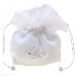 Three Flowers And Beads White Communion Dolly Bag