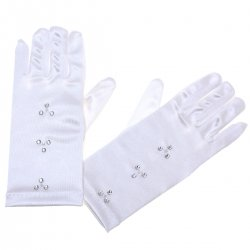 Communion Gloves With Three Diamantes And Beads