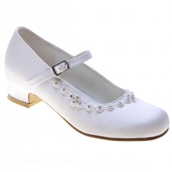 First Holy Communion Girls White Shoes With Diamante Petals