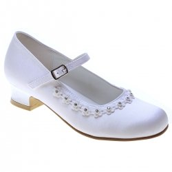 Girls White Satin Shoes With a Rim of Diamantes For First Holy Communion