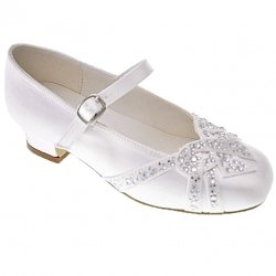 Diamantes On Large Bow First Holy Communion Girls Shoes