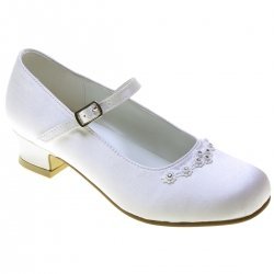 Girls First Holy Communion White Shoes For Girls Diamantes Trim