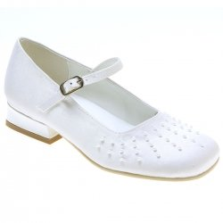 Girls First Holy Communion White Shoes With Rays Of Pearls