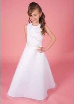 Briony Communion Dress Beaded Lace And Pleat Organza Bodice