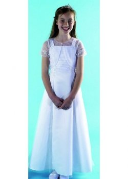 Girls communion dress with beads and sequines