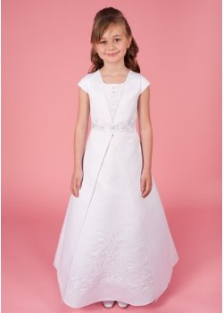 Karen Communion Dress Satin Bodice And Skirt Beaded