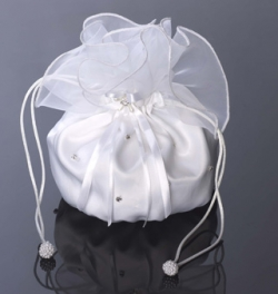 Diamante satin communion dolly bag