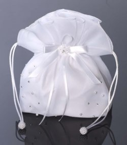 Organza pearl communion dolly bag