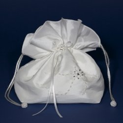 White Taffeta Holy Communion Dolly Bag