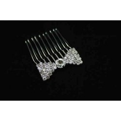 Diamonte bow hair comb