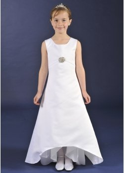 Plain Satin Communion Dress With Dipped Hem