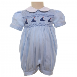 Baby Boys Hand Smocked Blue Sailboat Romper