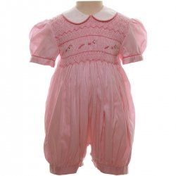 Traditional Hand Smocked Baby Girls Pink Romper With Horses Embroidery