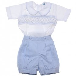 Baby Boys White Blue Smocked Romper