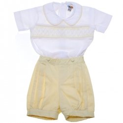 Baby Boys White Lemon Smocked Eton Romper Suit