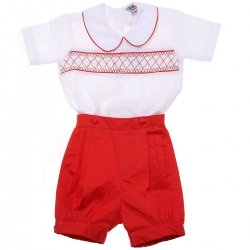 Baby Boys White Red Smocked Eton Romper Outfit