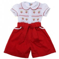 Girls White Smocked Cherries Embroidered Top And Red Shorts Set