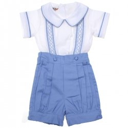 Boys Blue White smocked Romper Shorts Set