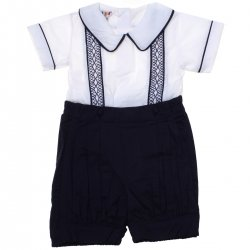Boys White Top Navy Shorts Smocked Romper Outfit