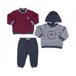 Mayoral Baby Boys 3 Piece Red Navy Hooded Tracksuit Set