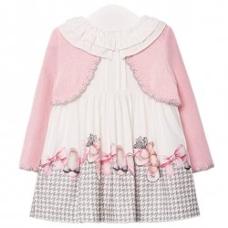 Mayoral Autumn Winter Baby Girls White Grey Dress With Attached Pink Cardigan